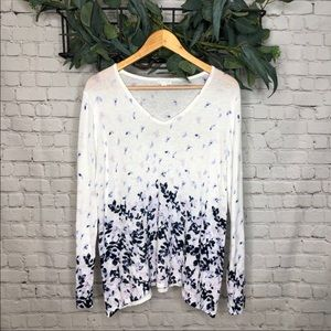 J. Jill White and Purple Floral Pattern Sweater